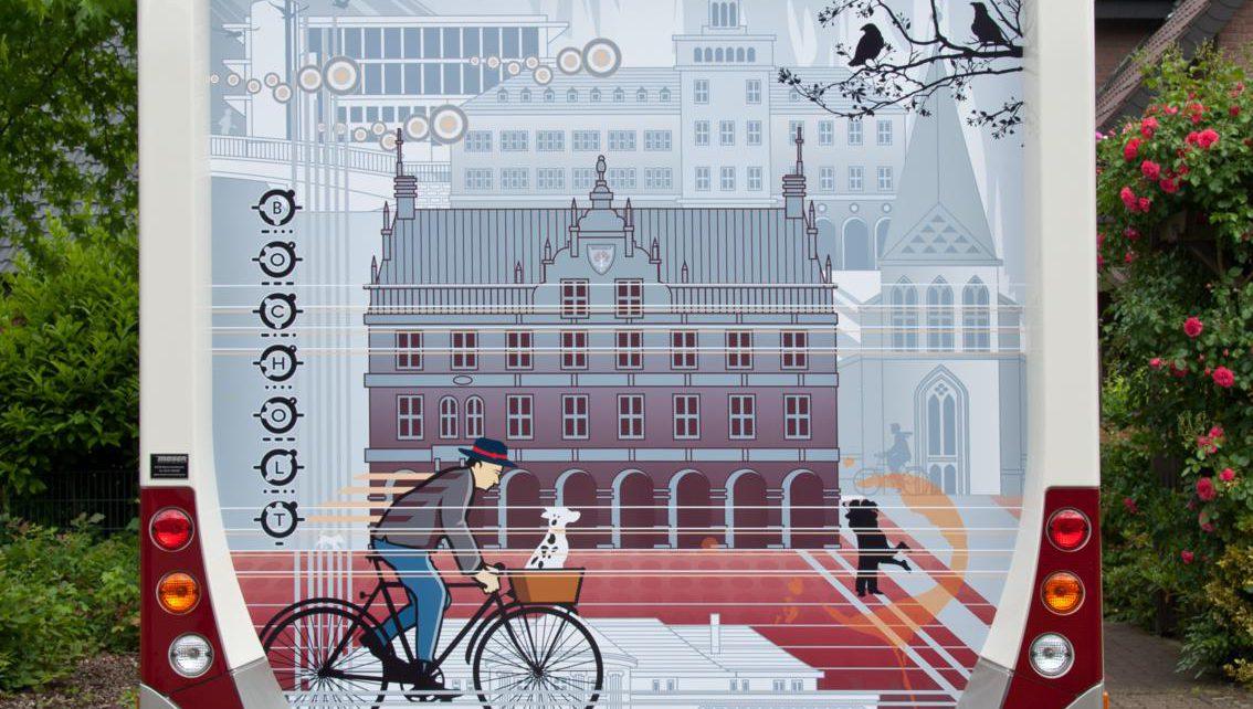 2013.06.17. Ansicht Wohnmobil Postkartenmotiv Fahrradfahrer Bocholt ART NETWORK 1134x1133 1134x642 - Kunst in Bocholt - Postkarten, Wohnmobile und mehr