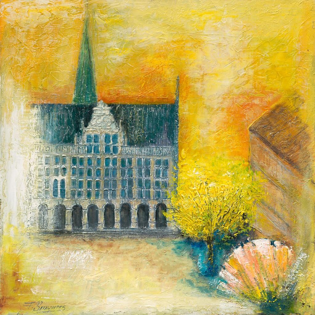 Fritz Brauwers Historisches Rathaus Bocholt Giclee Print - Kunst in Bocholt : Lichtstele von Prof. Heinz Mack