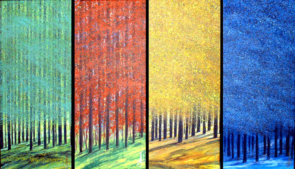 4 Jahreszeiten70x30cm1000kb - Nico Namara - Ausdrucksmittel und Technik des Pointillismus