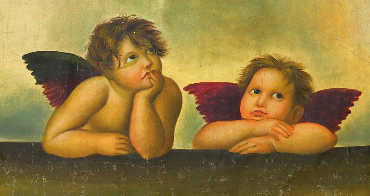 Engel beide 1210x642 - Die Engel der Sixtinischen Madonna in Dresden - Öl auf Leinwand