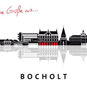 Bocholt Postkarte. Motiv 2. schwarze Silouette Bocholt. Vorderseite 300x300 - Stadtplan Bocholt - 2014