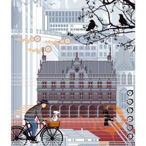 Bocholt Postkarte. Motiv 3. Fahrradfahrer Bocholt. Vorderseite 300x300 - Stadtplan Bocholt - 2014