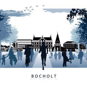 Bocholt Postkarte. Motiv 4. Jogger Bocholt. Vorderseite 300x300 - Stadtplan Bocholt - 2014