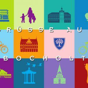 Bocholt Postkarte. Motiv 5. Quadrate. Vorderseite 300x300 - Stadtplan Bocholt - 2014