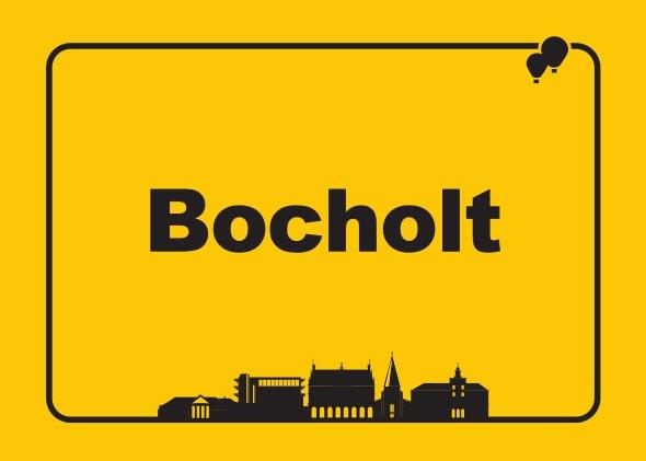 Bocholt Postkarte. Motiv 6. Ortsschild. Vorderseite1 - Stadtplan Bocholt - 2014