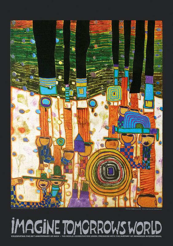 Hundertwasser IMAGINE TOMORROWS WORLD ORANGE ml - Kunst von Hundertwasser - Farben und Kontraste
