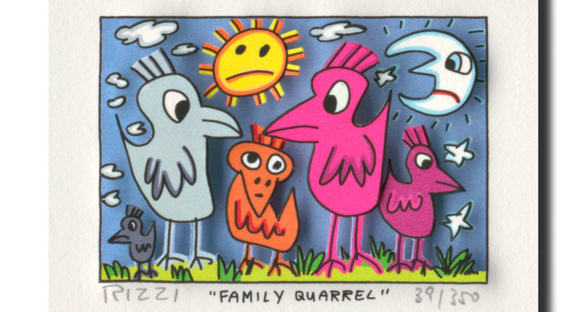 RIZZI10168 family quarrel 1210x642 - James Rizzi Edition 2014  - Offiziell autorisierte Kunst Galerie