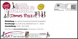 Karte mit Rahmen Rizzi Austellung Bocholt 300x151 - James Rizzi - Vernissage am 27. & 28.09.2014 in Bocholt