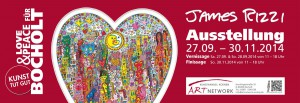 Rizzi Ausstellung Flyer Blog1 300x103 - James Rizzi - Vernissage am 27. & 28.09.2014 in Bocholt