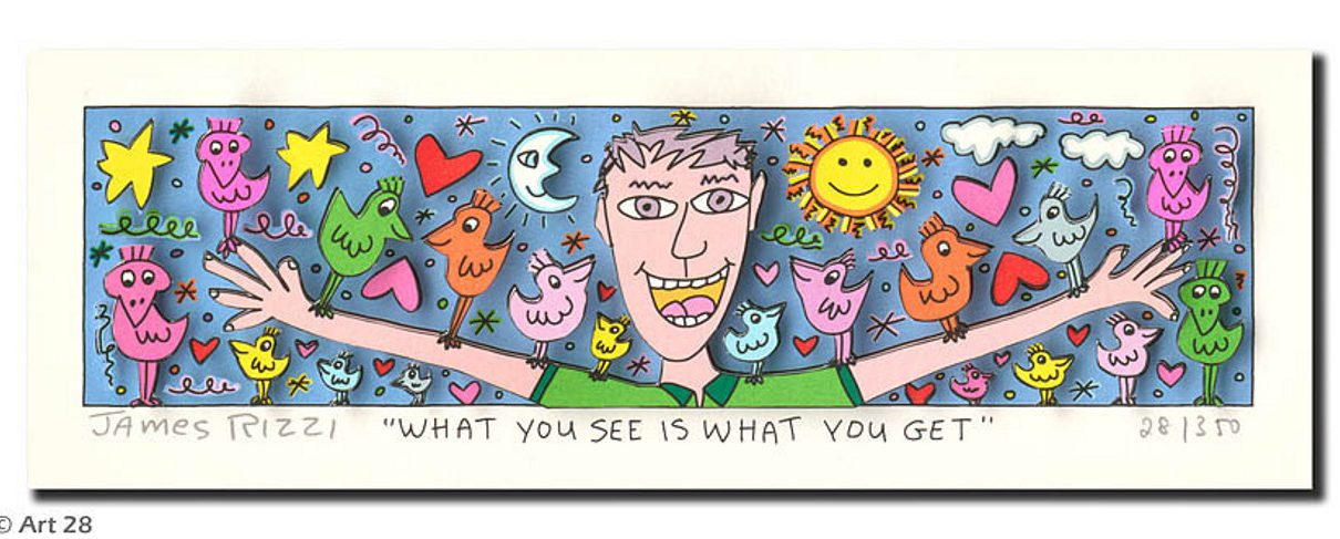 "What you see is what you get Rizzi 1210x487 - James Rizzi Verlosung – Die Gewinner vom Aktionstag ""LOVE & PEACE"""