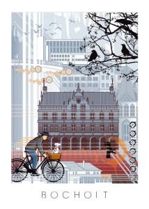 Bocholt Postkarte. Motiv 3. Fahrradfahrer Bocholt. Vorderseite 214x300 - Stadtplan Bocholt 2015 - kostenlos im Kunsthandel Koenen