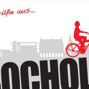 Bocholt Postkarte. Motiv 7. Fahrradfahrerin auf Bocholt Schriftzug. Vorderseite 300x300 - Stadtplan Bocholt 2015 - kostenlos im Kunsthandel Koenen