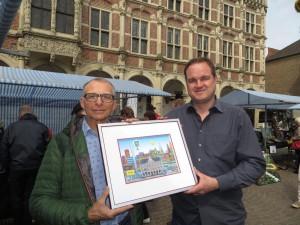 JosClaessensundPeterKoenen 300x225 - Ratsbesuch in Bocholt (BE) - Bürgermeister überreicht 3 D Bild von Bocholt