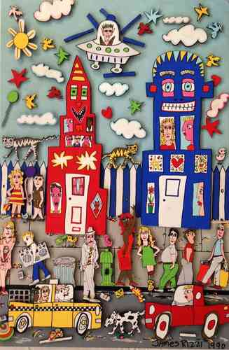 1990 Rizzi Magnetic Painting MovinOn 2 m - Restauration von Bildern - James Rizzi - Kunst tut Gut TV