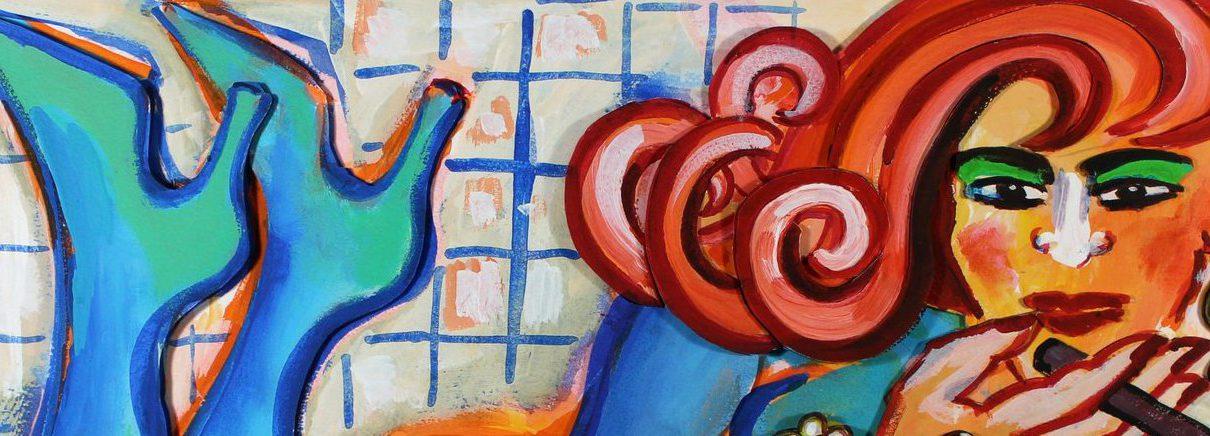 Elvira Bach   Azurblaue Artikelbild 1210x436 - Neu in unserer Galerie - Elvira Bach - 3 D Konstruktionen