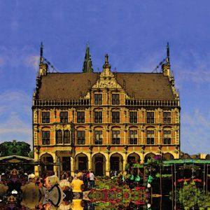 Bocholt Leinwanddruck. Motiv 4. Rathaus gelb   Himmel blau. 25 x 25 cm 300x300 - Kunst für Bocholt - Bilder - Grafiken - 3D - Pop Art - Accessoires