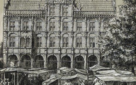 Pryzbilla Bocholt 30x40 150dpi Historische Szene Rathaus 464x290 - Kunst für Bocholt - Bilder - Grafiken - 3D - Pop Art - Accessoires