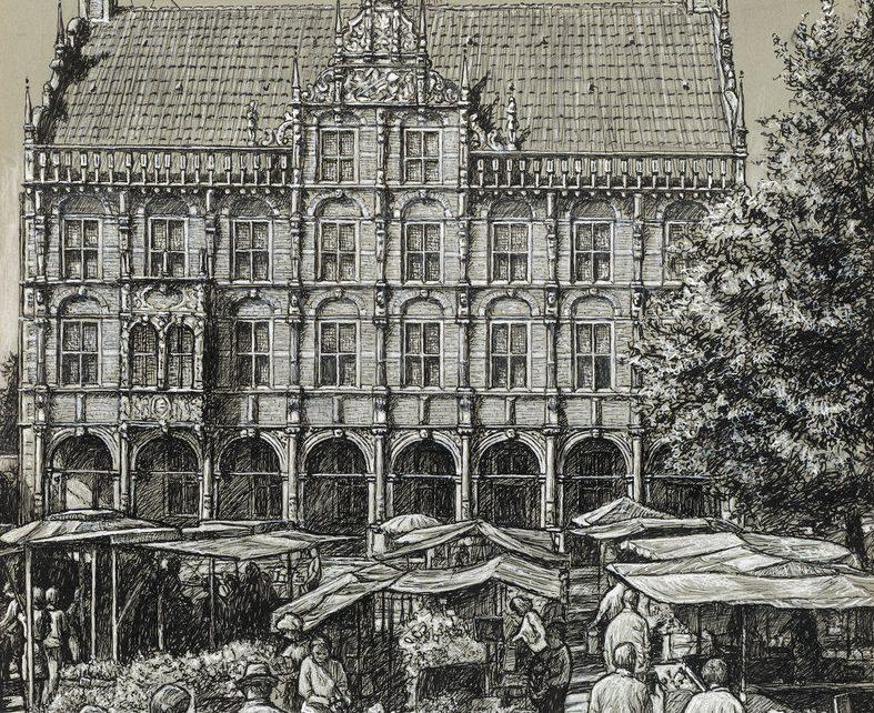 Pryzbilla Bocholt 30x40 150dpi Historische Szene Rathaus 787x642 - Kunst für Bocholt - Bilder - Grafiken - 3D - Pop Art - Accessoires