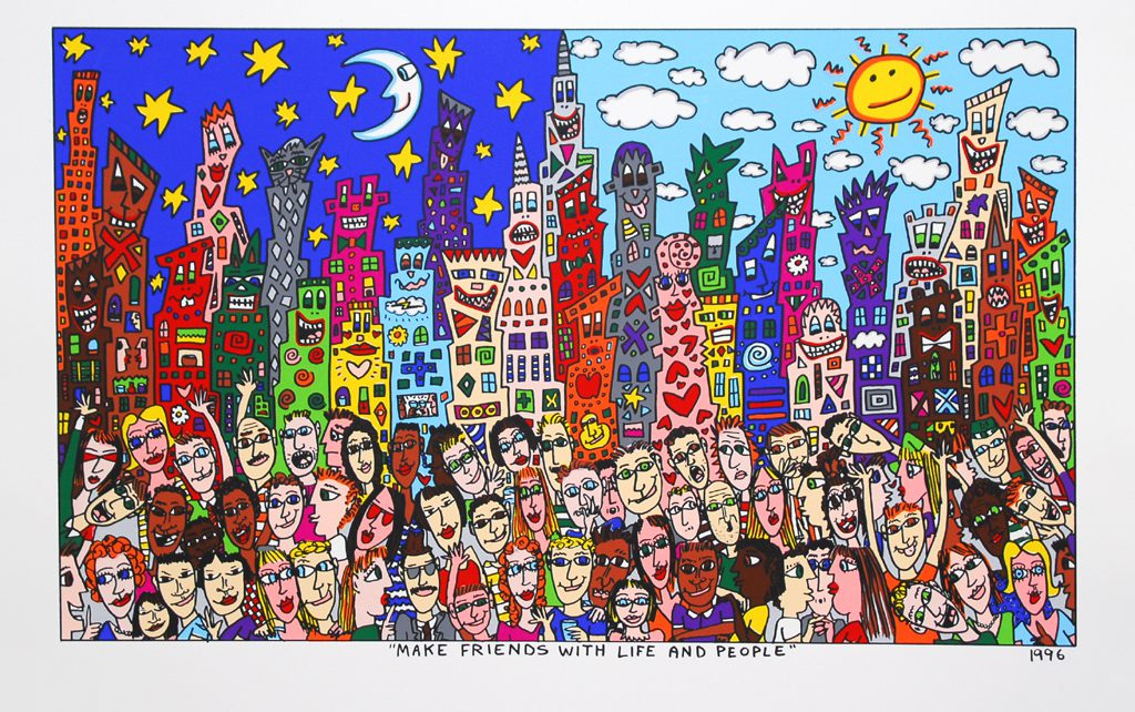 MAKE FRIENDS WITH LIFE AND PEOPLE 1024x642 - James Rizzi 2D - Pop Art ... ist einfach zeitlos ...