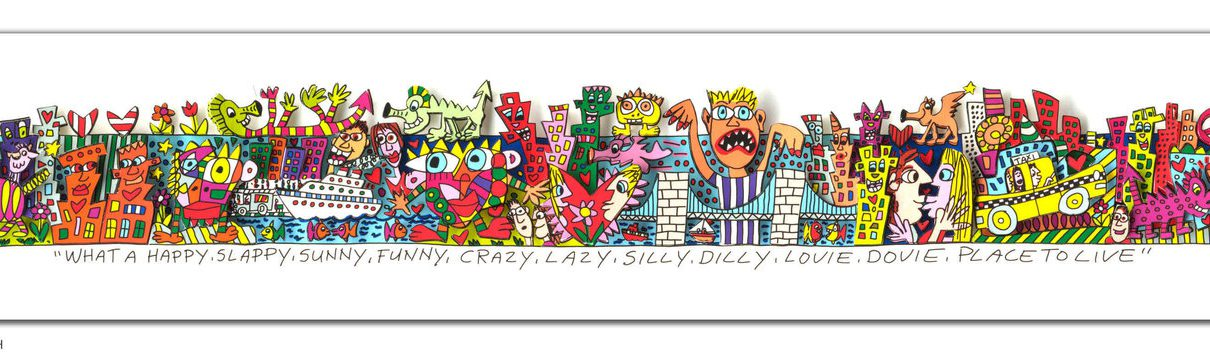 RIZZI10268 James Rizzi What a happy slappy sunny funny crazy lazy silly dilly lovie dovie place to live 1210x353 - Always look on the Rizzi side of life