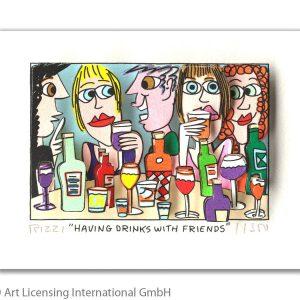 RIZZI10282   James Rizzi   Having drinks with friends 300x300 - Die neue JamesRizziKollektion im ART NETWORK Online Shop