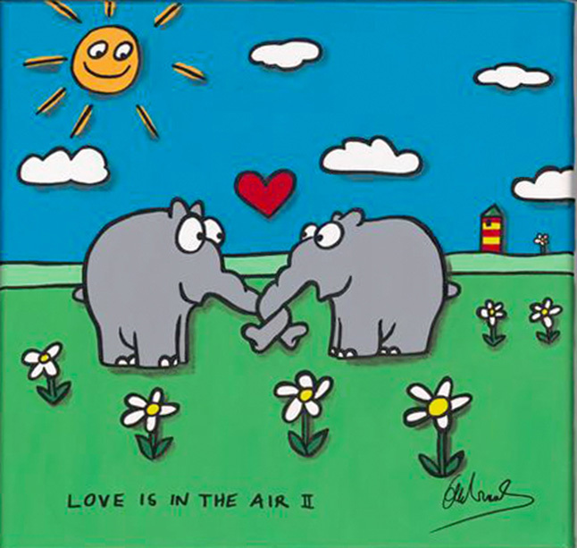 Otto Waalkes Love is in the Air II 40x40cm - Sag es durch... Kunst - Valentinstag im Kunsthandel Koenen ART NETWORK