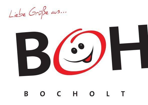 Bocholt Postkarte. Motiv 1. BOH. Vorderseite - Bocholt - hier schlagen (nicht nur unsere) Herzen für die Kunst