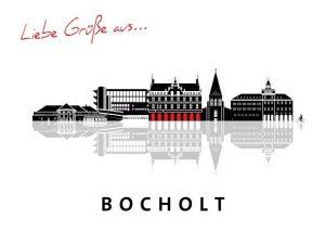 Bocholt Postkarte. Motiv 2. schwarze Silouette Bocholt. Vorderseite 300x214 - Bocholt - hier schlagen (nicht nur unsere) Herzen für die Kunst