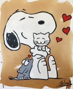Otto Waalkes Snoopy Friendship mit Katze 2019 249x300 - Leinwandbilder mit Charme - Otto 's unverwechselbarer Stil