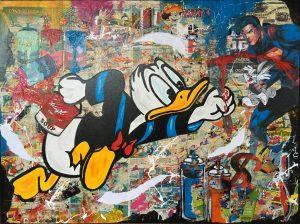 Claus Schenk Superhero Donald Duck Kunsthandel Koenen 2020 300x224 - Donald im Fokus - neues von Claus Schenk