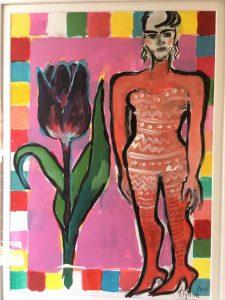 Elvira Bach   Unikat 2017   Dame mit Tulpe 225x300 - Das besondere Kunstwerk:Elvira Bach- Dame mit Tulpe