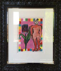Elvira Bach   Unikat 2017   Dame mit Tulpe gerahmt 256x300 - Das besondere Kunstwerk:Elvira Bach- Dame mit Tulpe