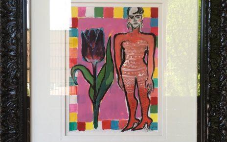 Elvira Bach - Unikat - Dame mit Tulpe