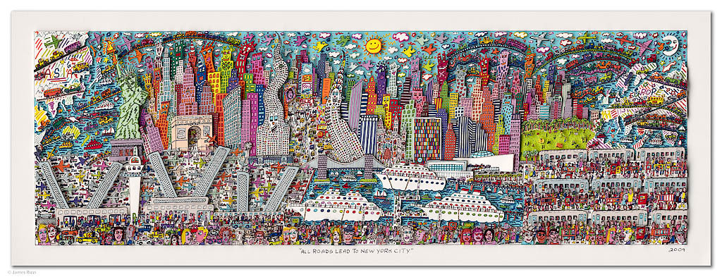 2009 RIZZI10086 Rizzi all roads lead to new york city - James Rizzi