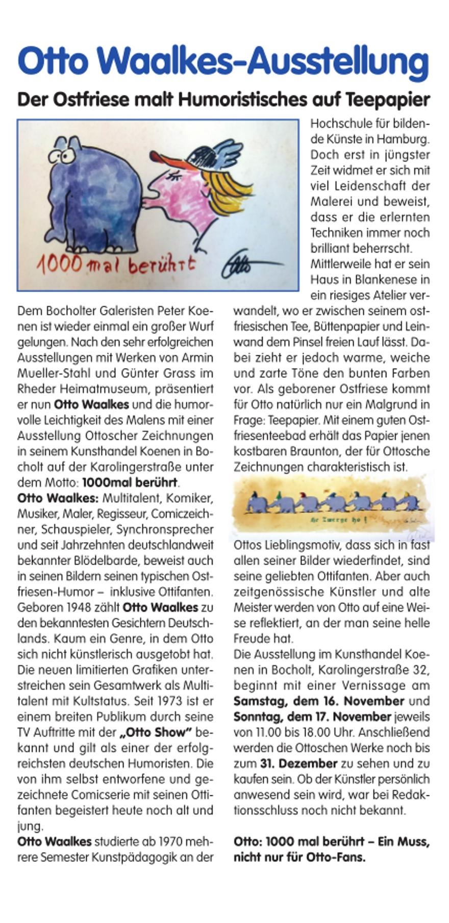 Bericht Kunsthandel Koenen Rheder Stadtgespraech1 - Otto Waalkes