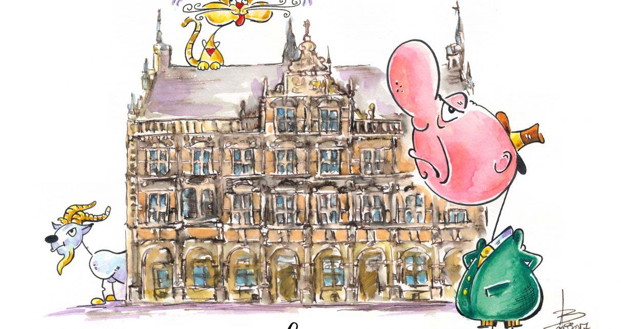 Rathaus Bocholt mit Meckermann