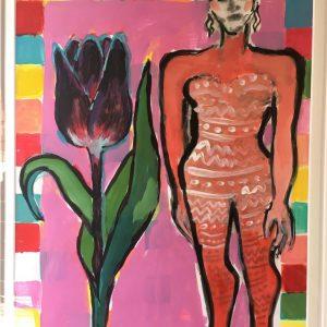 Elvira Bach   Unikat 2017   Dame mit Tulpe 300x300 - IhrWunschbild- wir machen uns auf die Suche!