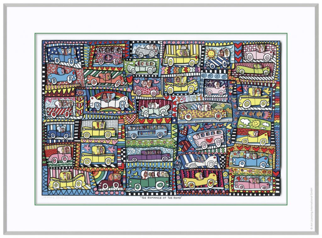 RIZZI10270 RGB 900 1230 TheRomanceOfTheRoad 625 955 1024x758 - Das besondere Kunstwerk: ROAD TRIP AND A CRUISE SHIP und THE ROMANCE OF THE ROAD von James Rizzi